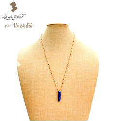 Sautoir Evocation Louis Sicard cigale bleu cobalt