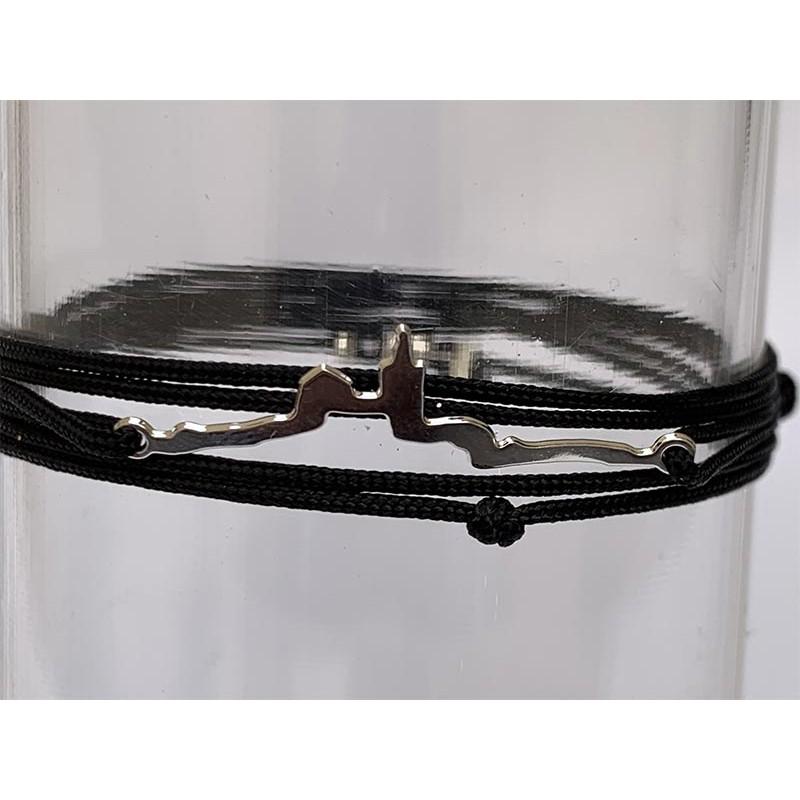 Bracelet Silhouette Bonne Mère en laiton plaquée argent 2 microns